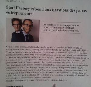 Nos partenaires de Saul Factory, ou du conseil gratuit pour de jeunes entrepreneurs !